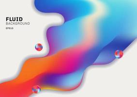 Forma fluida 3d colorido abstracto que fluye color vibrante sobre fondo blanco vector