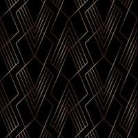 Elegant gold line geometric pattern on black background art deco style. vector