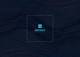 Abstract glowing blue wave lines pattern with particles elements on dark background. vector