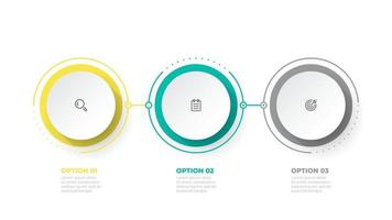 Timeline infographic design element and marketing icons. Business concept with 3 options, steps. Can be used for workflow layout, business diagram, annual report, web design. vector