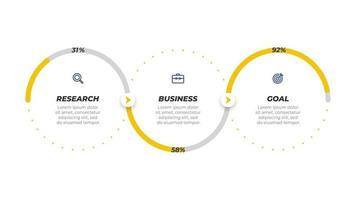 Business infographic template label design with icons. Timeline with 3 options or steps. Can be used for workflow diagram, info chart, presentation, annual report. vector