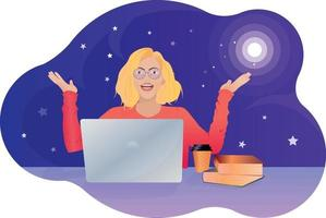 Vector illustration woman at desk with laptop