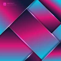 Abstract pink and blue neon color geometric overlay layer background with lighting.