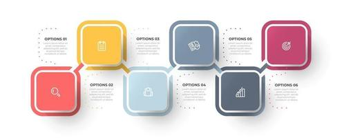 Business infographic template with 6 options or steps. Timeline processes design with marketing icons. vector