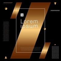 Abstract modern trendy gold and white geometric shape element on black background minimal style. vector