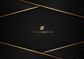 Abstract template geometric triangle shape and gold line stripe with dot pattern overlap on black background vector