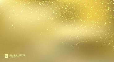 Sparkling golden glitter lights on gold blurred background. vector