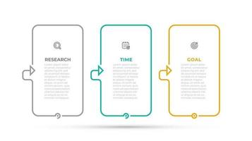 Vector infographic template design with thin line and icons. Business concept with 3 options, steps, parts.