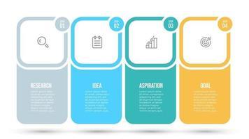 plantilla de infografía empresarial. línea de tiempo con iconos y 4 opciones, pasos, etiqueta. vector