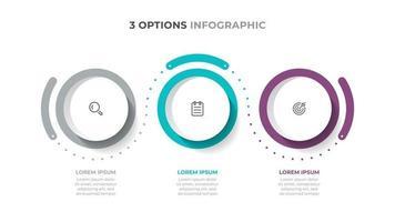 coloridos elementos infográficos. procesos de línea de tiempo con iocns de marketing y 3 opciones. plantilla de vector. vector