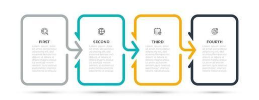elemento de diseño de plantilla de infografía empresarial con flechas e iconos. línea de tiempo con 4 opciones o pasos. ilustración vectorial. se puede utilizar para diseño de flujo de trabajo, gráfico de información, gráfico de información, diseño web. vector