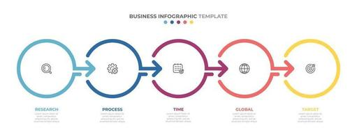 Timeline infographics template design with arrows and circles. Business concept with 5 options, steps, parts. vector