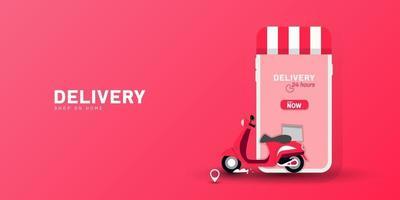 tienda de entrega a domicilio con transporte de moto en el móvil. pedido de comida en línea con un clic. plantilla de vector.