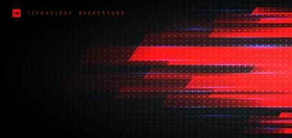 Abstract Technology Futuristic Concept with Red Geometric Motion Horizontal Lighting On Black Background. vector