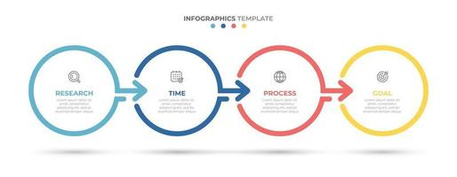 Timeline infographics template design with arrows and circles. Business concept with 4 options, steps, parts.