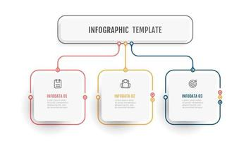 Business info graphic template. Thin line design label with icon and 3 options, steps or processes. vector