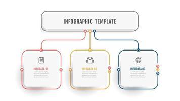 plantilla gráfica de información empresarial. etiqueta de diseño de línea fina con icono y 3 opciones, pasos o procesos. vector