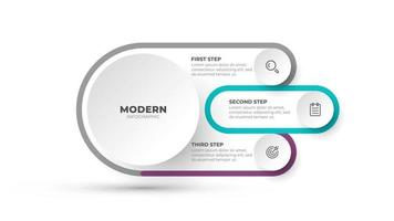 Modern infographic label design template. Business concept with 3 options, steps and marketing icons. Vector illustration.