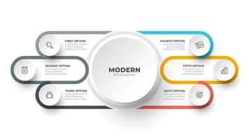 Modern infographic label design template. Business concept with 6 options, steps and marketing icons. Vector illustration.