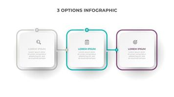 Business infographic process with square template design with icons and 3 options or steps. Vector illustration.