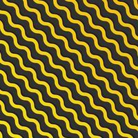 Patrón de líneas de onda diagonal amarilla abstracta con sombra sobre fondo negro y textura. vector