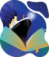 Ship in book reading concept vector