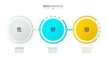 Timeline infographic template vector design with circles and numbers. Business concept with 3 options or steps.