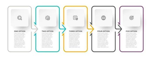 Timeline infographic template. Business concept thin line design with arrows and 5 options or steps. vector