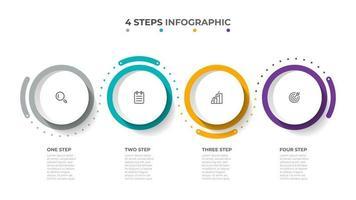 elementos gráficos de información colorida. procesos de línea de tiempo con iconos de marketing y 4 opciones. plantilla de vector. vector