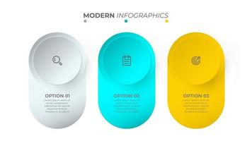 Colorful object of info graphic design with icon and circle. Business concept with 3 options. Vector template.