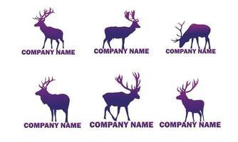 collection of deer animal logos in purple gradations vector