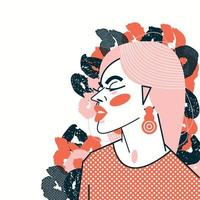 Contemporary colorful vector illustration of a young beautiful woman with plants