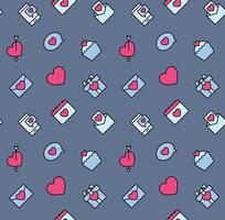 Valentine's Day patterns seamless with hearts and valentine symbol. Used for textile, fabric, background.