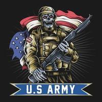Soldado americano con cara de calavera sosteniendo ametralladora y bandera de EE.UU. vector