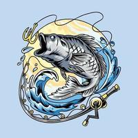 caña de pescar y gran salmón y gran vector de lubina