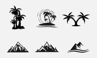 colección de siluetas de playa y montaña vector