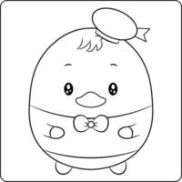 cute duck drawing sketch for coloring vector