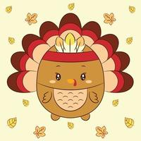 Thanksgiving cute turkey drawing with feathers and leaves vector