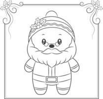 merry Christmas cute Santa Claus drawing sketch for coloring vector