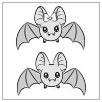 happy Halloween cute bats drawing vector