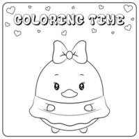 drawing sketch cute duck with dress for coloring vector