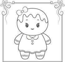merry Christmas cute ginger cookie drawing sketch for coloring vector