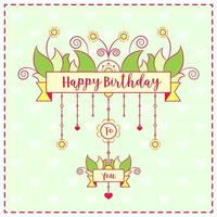 Happy Birthday cute drawing colorful card with hearts background vector