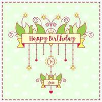 Feliz cumpleaños lindo dibujo tarjeta colorida con fondo de corazones