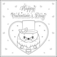 Happy Valentines day cute Santa Claus drawing sketch for coloring vector