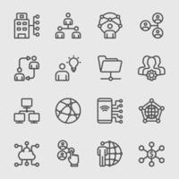 Conjunto de iconos de línea de tecnología de red y negocios vector