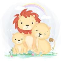 Lion Family portrait illustration in watercolor style vector