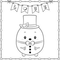 Happy Valentines day cute Snowman drawing sketch for coloring vector