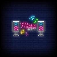 Music Party Neon Signs Style Text Vector