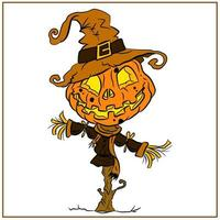 happy Halloween scary and spooky scarecrow drawing vector